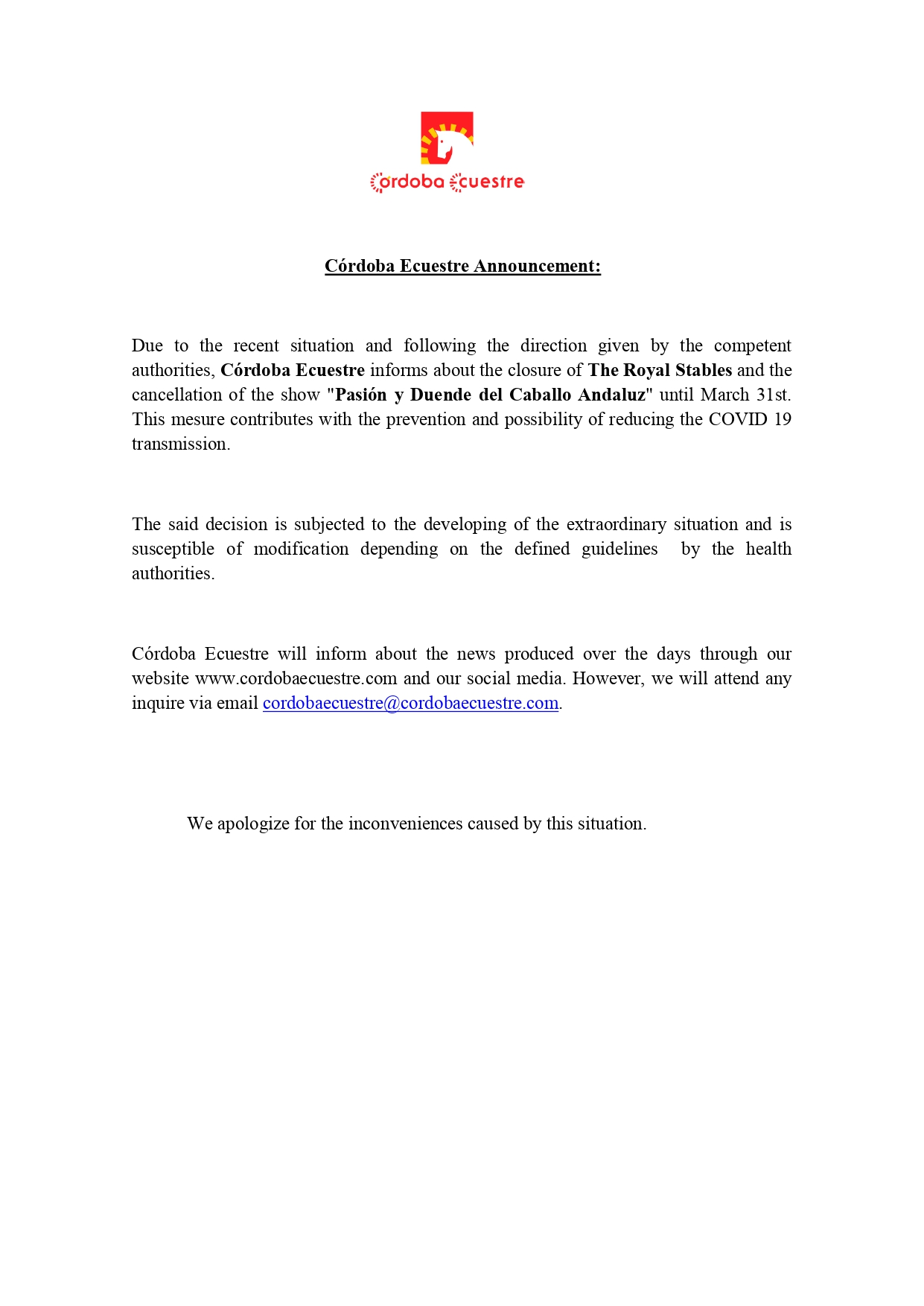 Córdoba ecuestre announcement